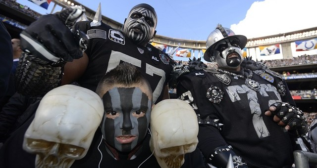 SAN DIEGO, CA - DECEMBER 30: Oakland Raiders fans dress up for the game against the San Diego Chargers on December 30, 2012 at Qualcomm Stadium in San Diego, California. (Photo by Donald Miralle/Getty Images)