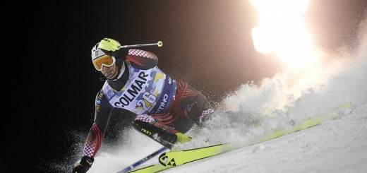 Ivica Kostelic at the Ski World Cup refractioned light creating illusion of exploding gate