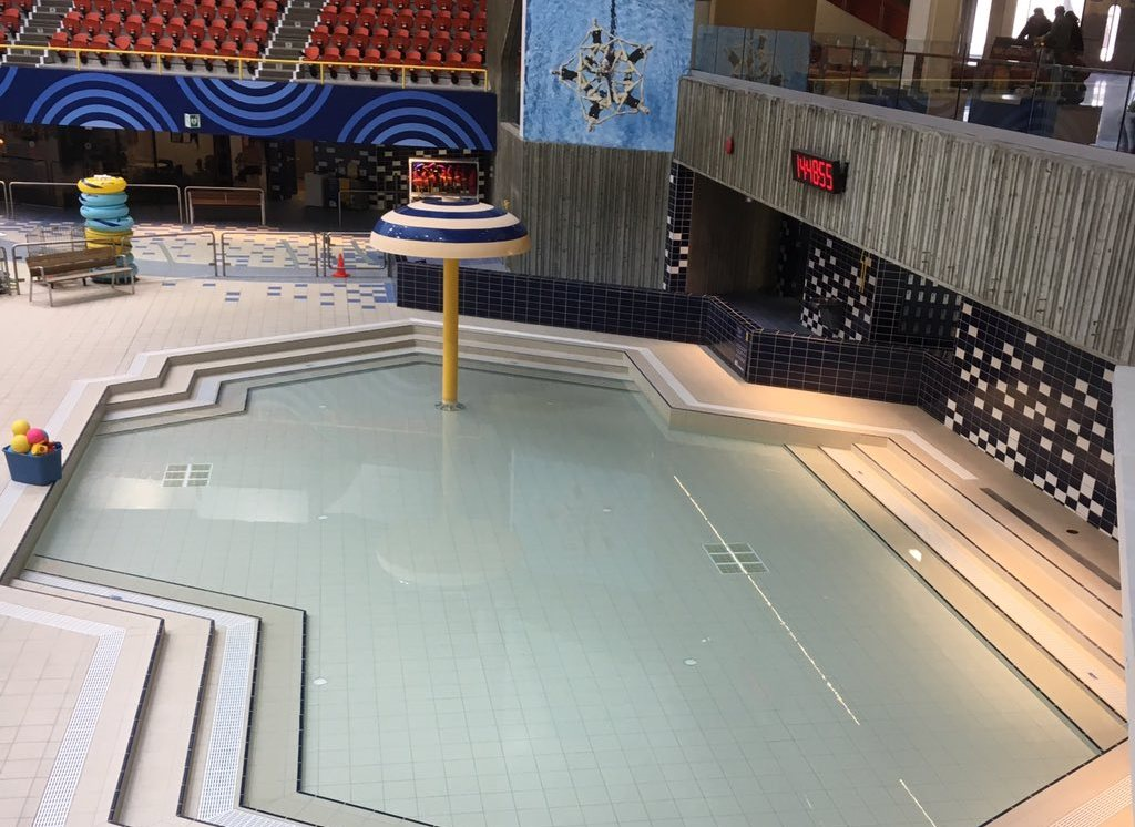 The kiddies' pool, where the dais used to be