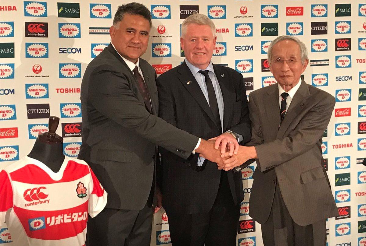 Jamie Joseph, Steve Tew and Japanese Rugby chairman Tadashi Okamura