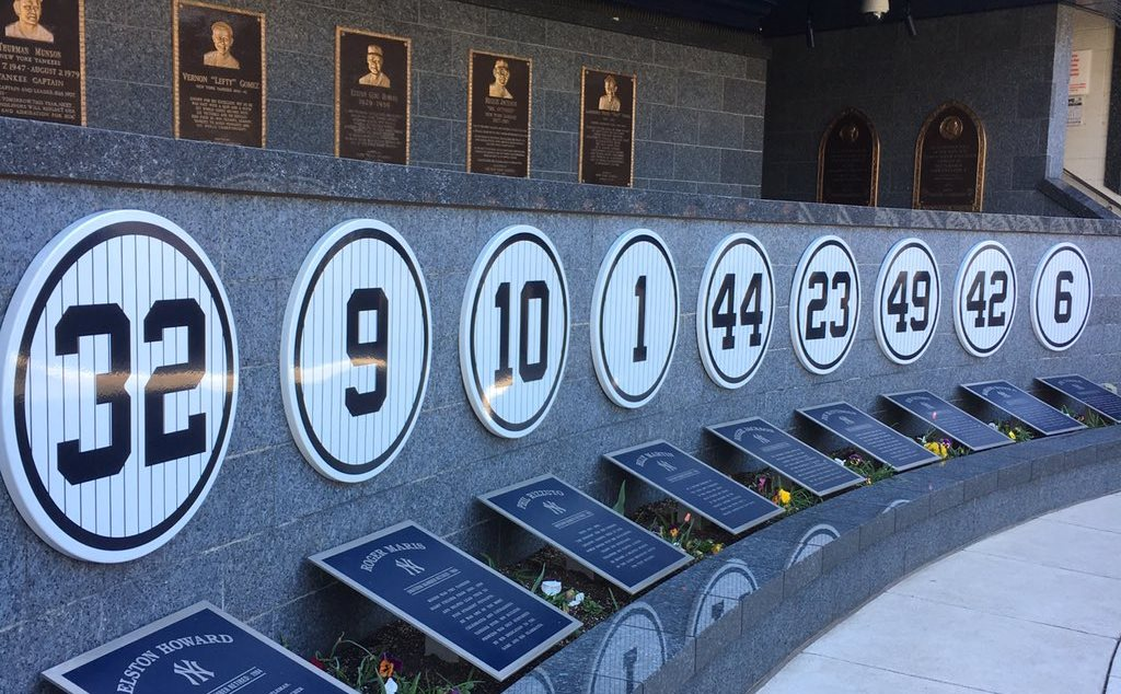 Monument Park, some of the retired jersey numbers