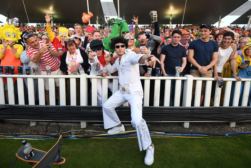 Andrew Flintoff performs as Elvis during the NatWest T20 Blast finals day at Edgbaston