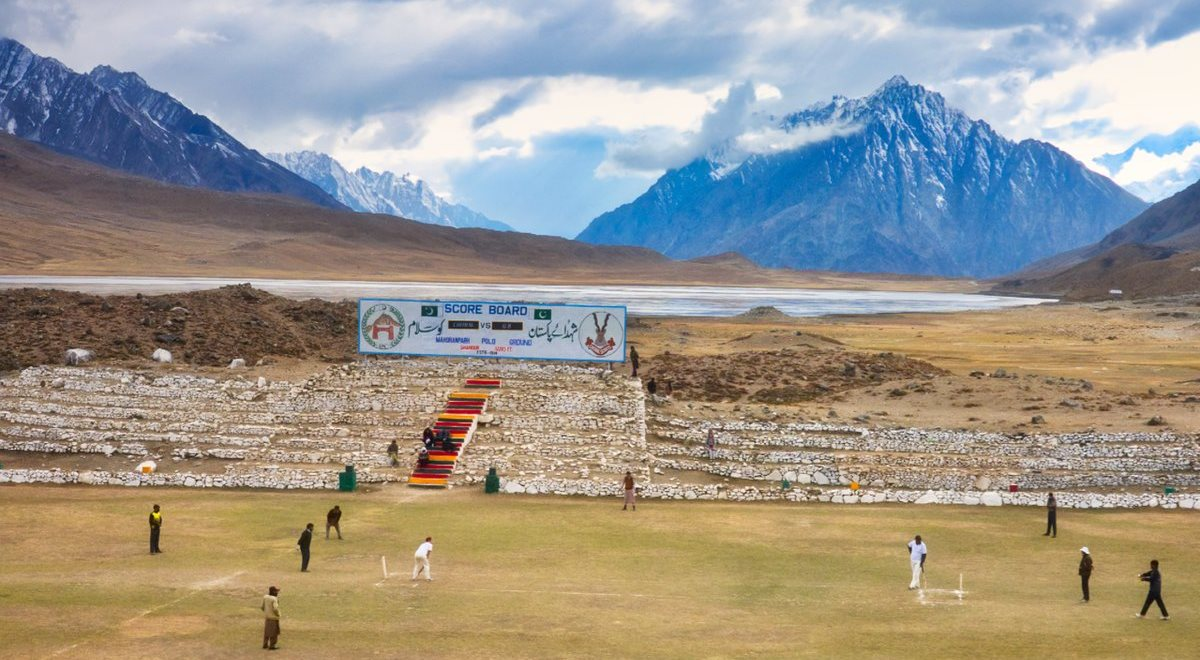 Cricket at 12000 feet The Shandur Pass on the border between Gilgit and Chitral northern Pakistan