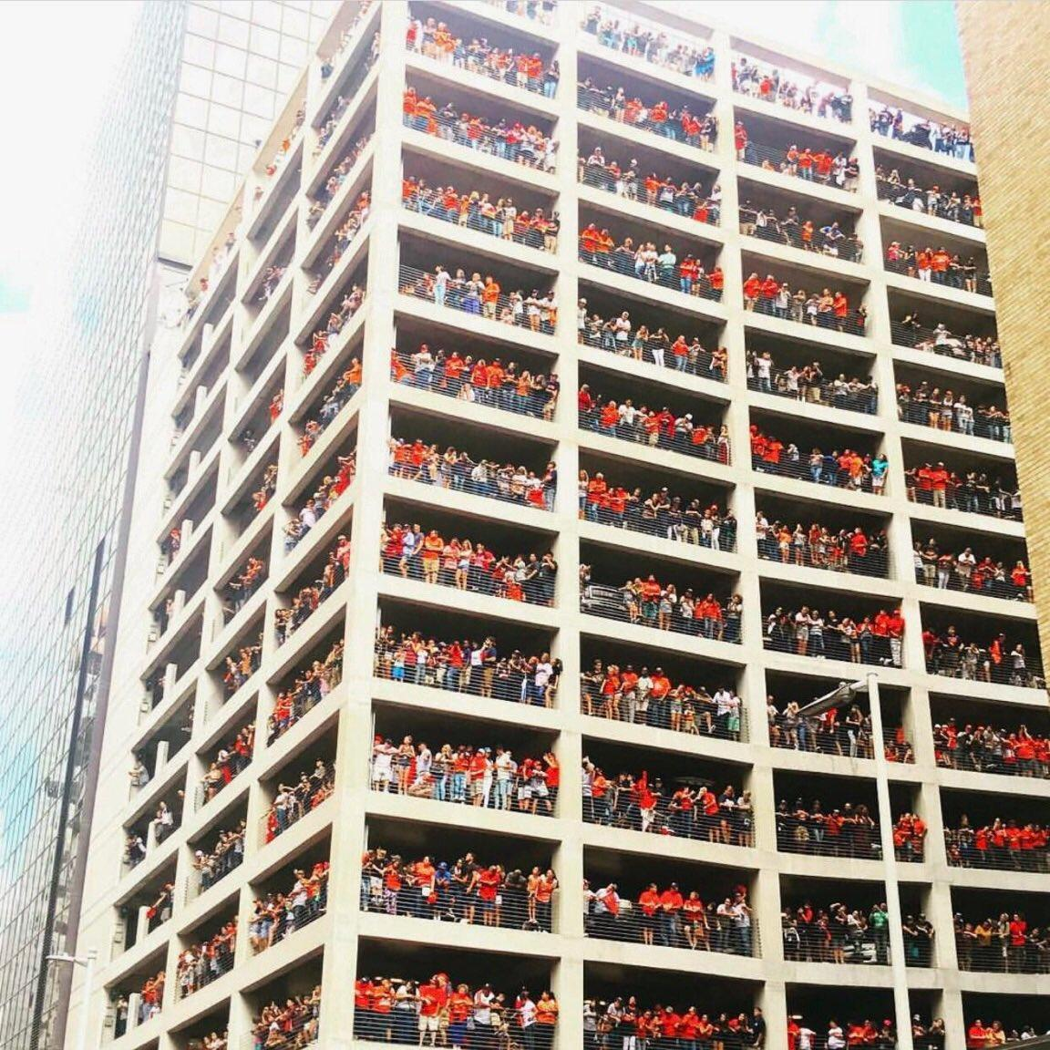 View of the parking garage overlooking the Astros parade