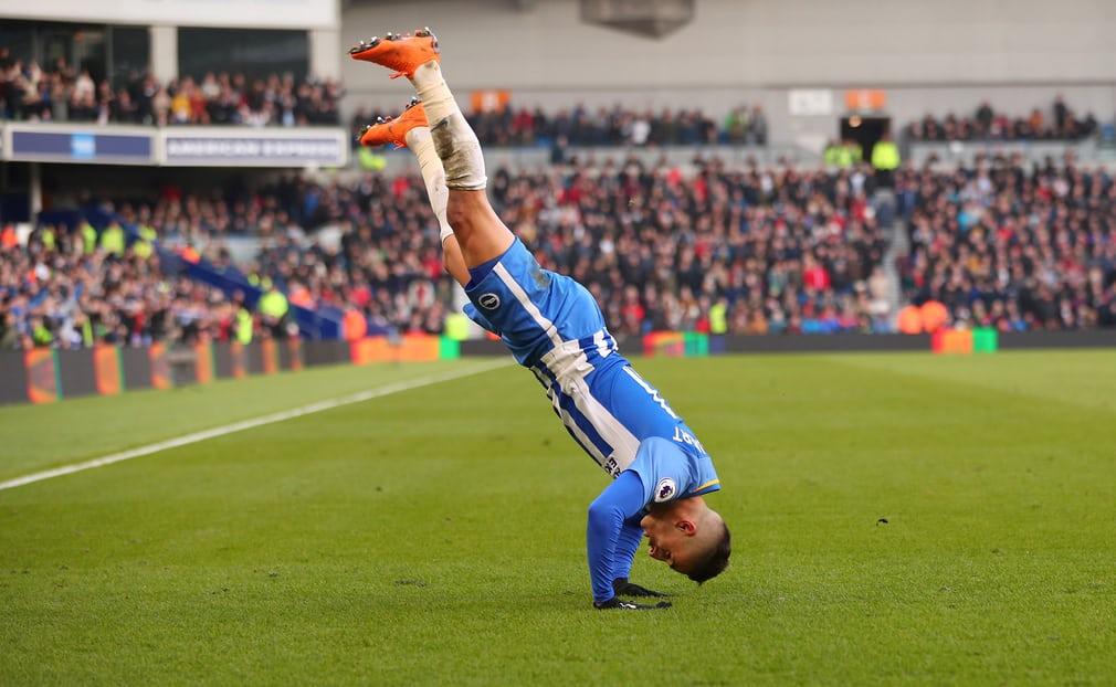 Brightons Anthony Knockaert celebrates scoring their third goal against Swansea City