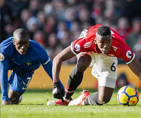Chelsea's N'Golo Kanté and Manchester United's Paul Pogba stay focused