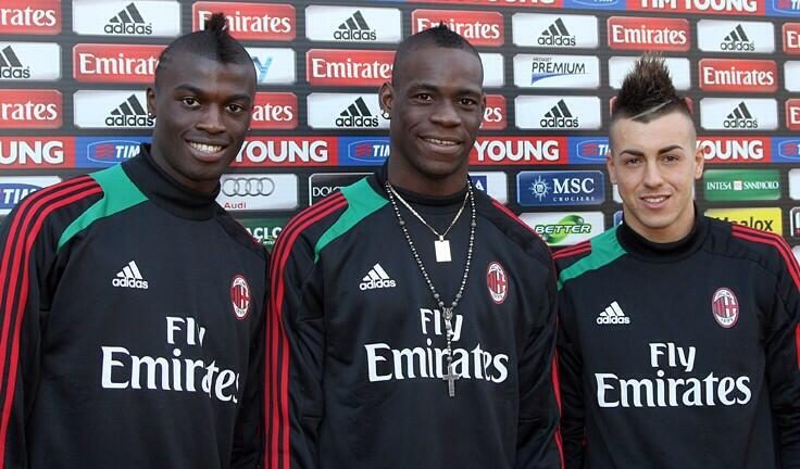 M'Baye Niang and Stephan El Shaarawy with Balotelli at Milan