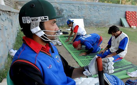 Afghan cricketers in warm up
