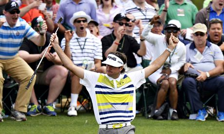 Bubba Watson of the US reacts after maki