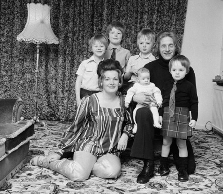 Circa 1970 - 1973 - Footballers at Home Feature by Ray Wright for Score Magazine - Denis Law at home with his Wife Diana and children.
