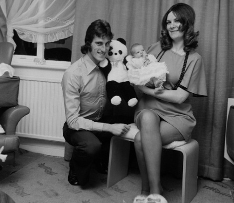 Circa 1970 - 1973 - Footballers at Home Feature by Ray Wright for Goal Magazine - Ray Clemence of Liverpool at home with his wife Veronica and his baby daughter.