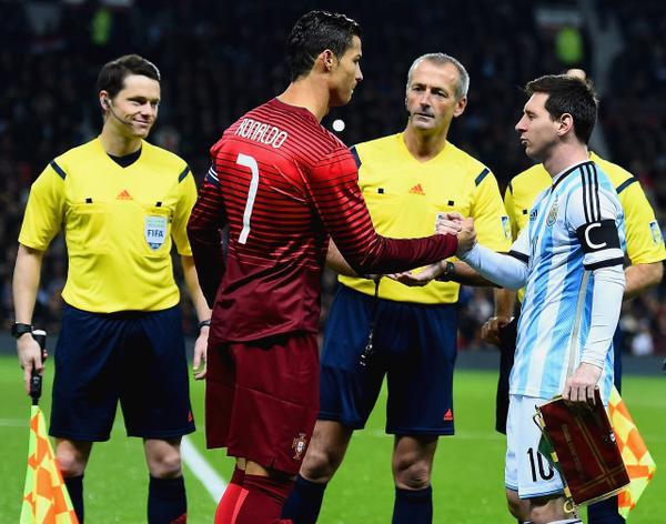 Ronaldo Messi stare off