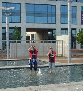 AFC Bournemouth achieve some rare success after winning promotion out of League Two at the Millennium Stadium. Sean Barker (left) and Rob Frank savour the moment with a dance in a Cardiff water fountain. Alas, it wasn't long until Bournemouth were back down in the basement division