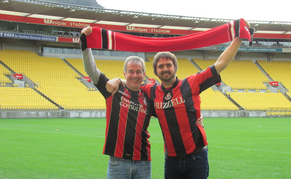 Sean Barker (Right) and Mark Dennison couldn't be involved in the pitch invasion at Bournemouth's ground to celebrate Premier League promotion so did the next best thing – A pitchie at the Westpac Stadium