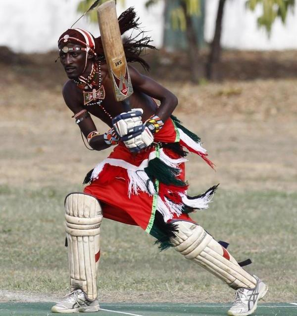 Jonathan Ole Meshami of the Maasai Cricket Warriors