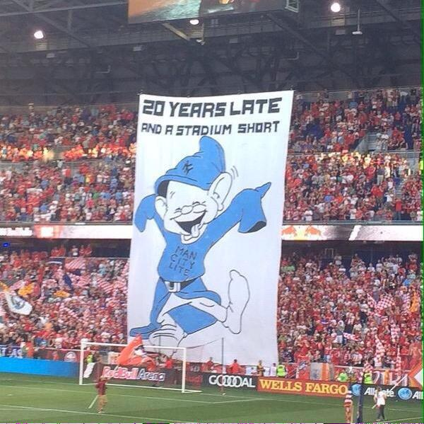 NY Red Bulls tifo at the first NY derb