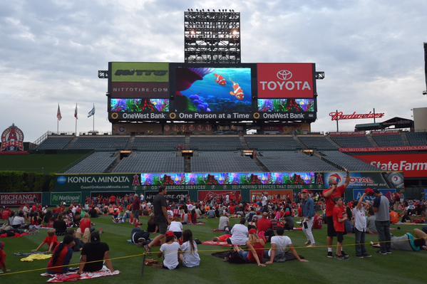 Movie night at the baseball