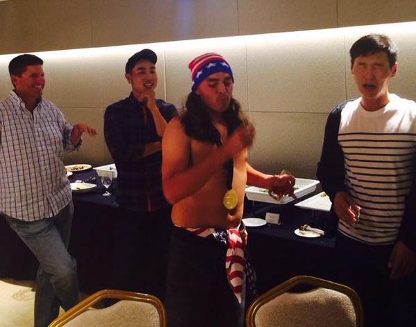 Internationals party. Danny Lee not really enjoying best buddy Rickie Fowler's 'shots challenge