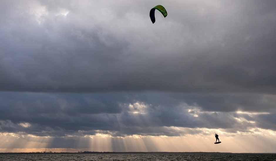 Kite surfing n northeastern Germany.