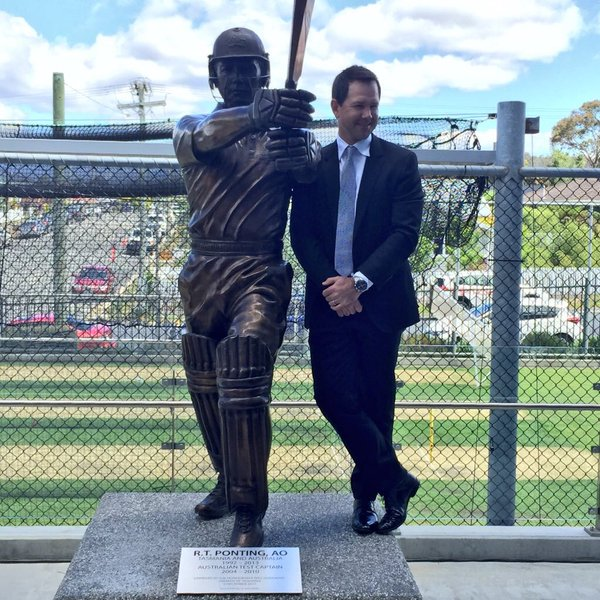 Ricky Ponting and statue
