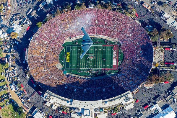 College football flyover Rosebowl game in Pasadena