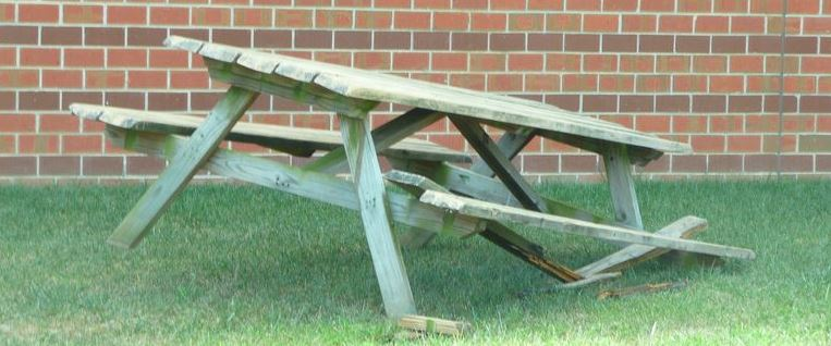A broken table
