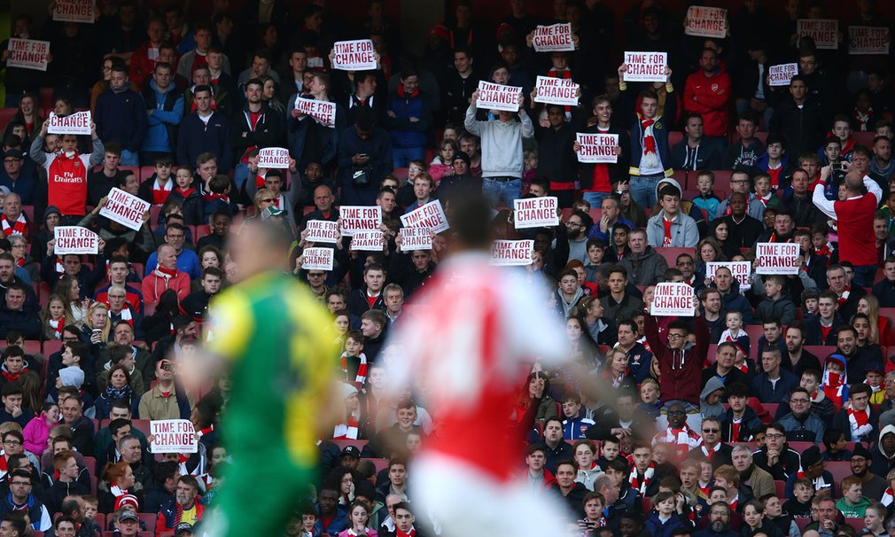 Even the Time for a Change banners at Arsenal seem to have been made to a tight budget
