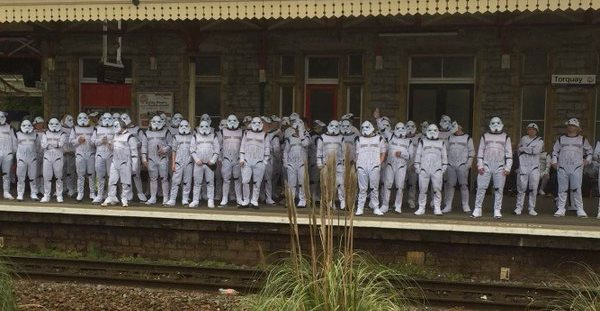 Hartlepool fans going to Plymouth as stormtroopers, in honour of their team not being able to get a shot on target