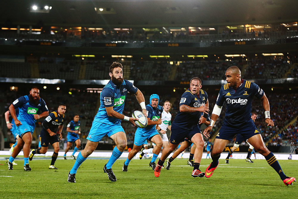 Billy Guyton of the Blues in action. Super Rugby match, Blues v Highlanders at Eden Park, Auckland, New Zealand. 26 February 2016. Photo: Anthony Au-Yeung / www.photosport.nz