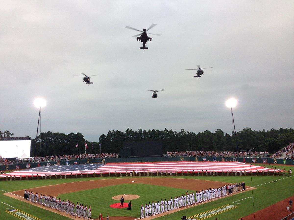 MLB game at Fort Bragg flyover