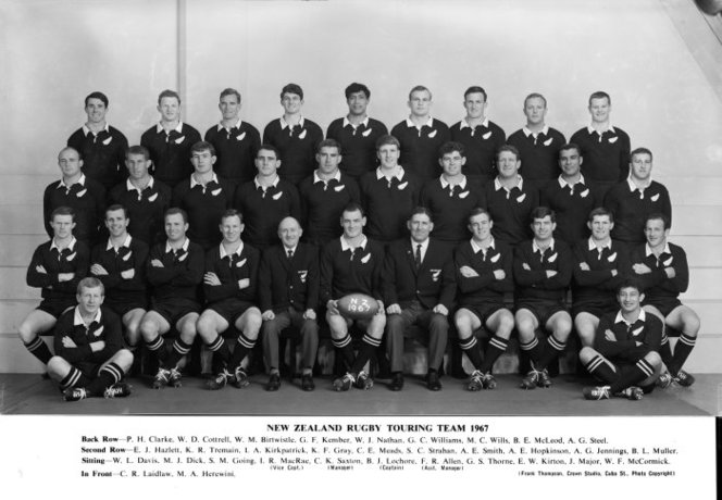 New Zealand rugby touring team (All Blacks) 1967. Crown Studios Ltd :Negatives and prints. Ref: 1/1-030662-F. Alexander Turnbull Library, Wellington, New Zealand. http://natlib.govt.nz/records/23107979