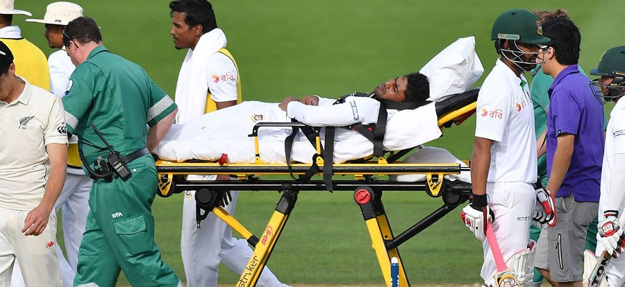The metaphor for the test. Imrul Keyes is stretchered from the field last on Day 4. The moment when the test changed