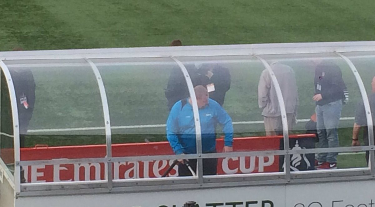 Goalkeeper Wayne Shaw is literally hoovering the dugouts