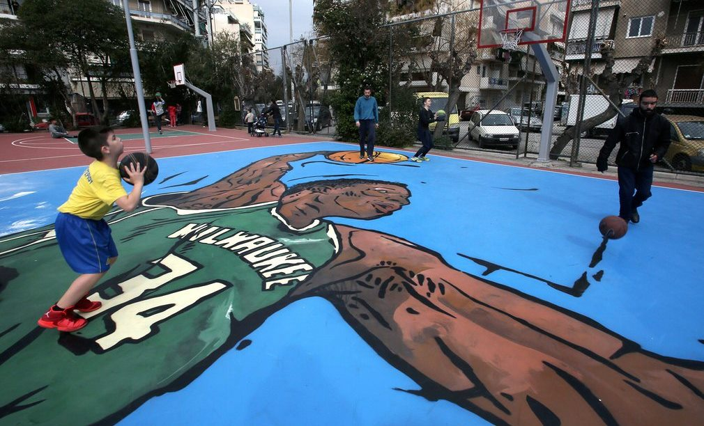 Street art depicting the Greek NBA player Giannis Antetokounmpo in his neighbourhood of Sepolia