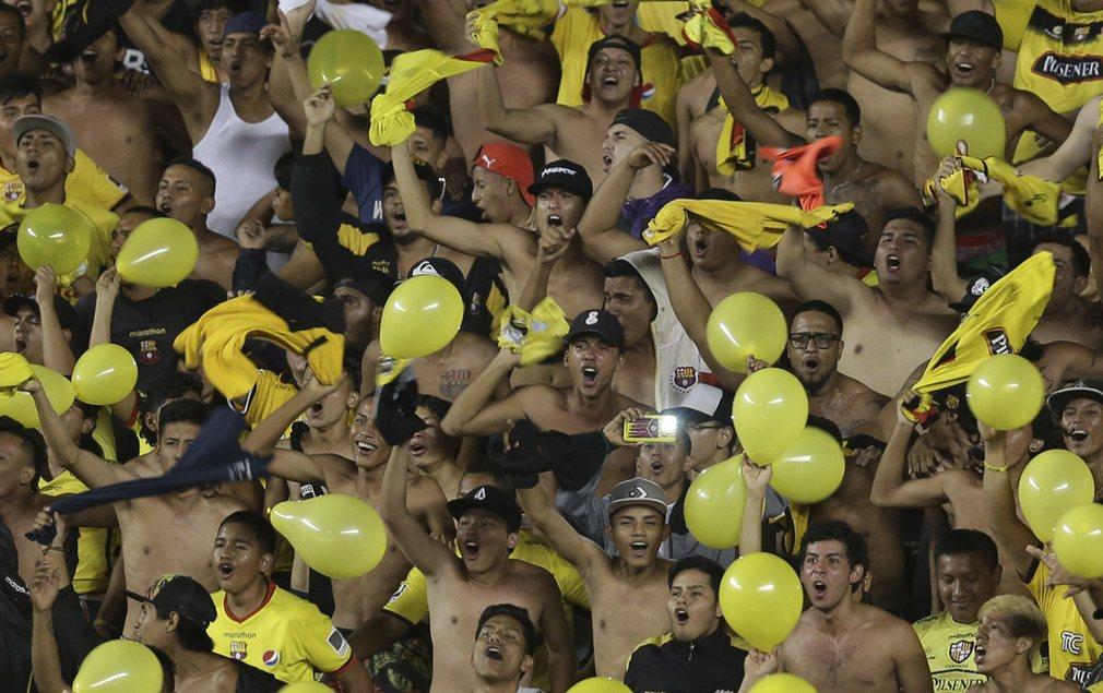 Ecuador's Barcelona cheer before the start of a Copa Libertadores football match against Colombia's Atlético Nacional