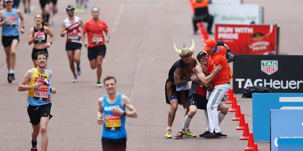 London Marathon runner collapses just before reaching the finish line