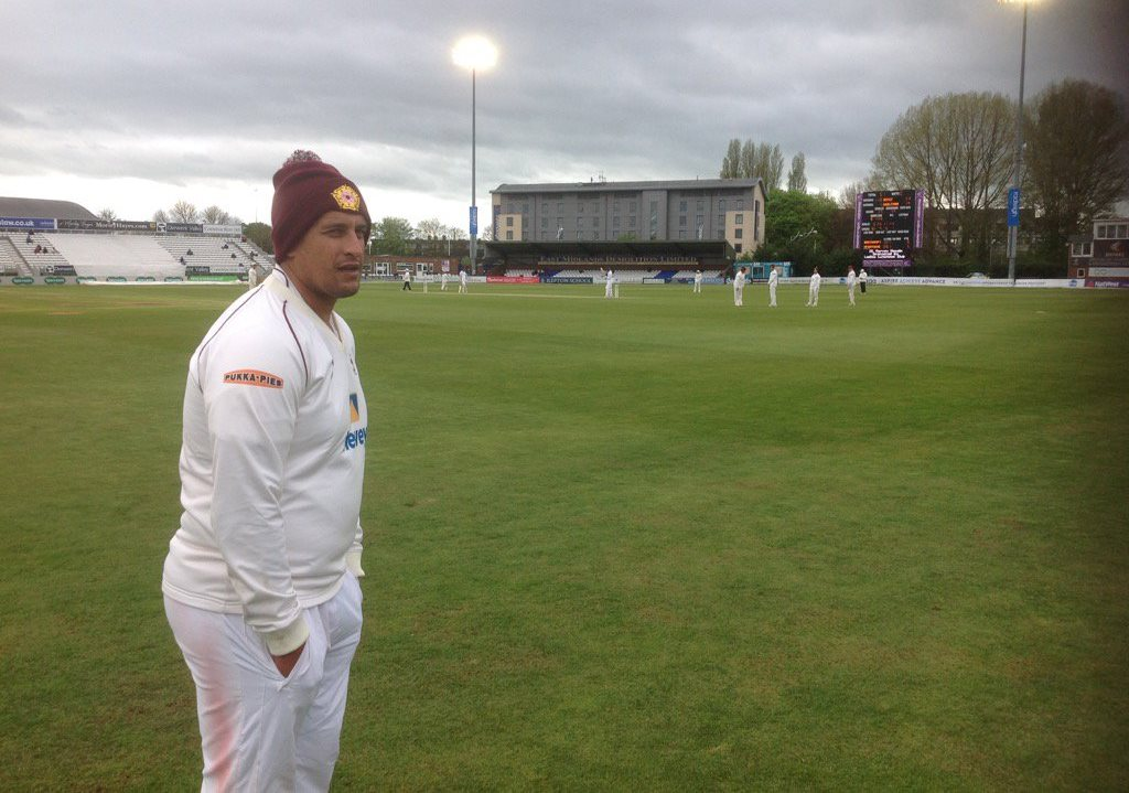 Rory Kleinveldt in the rather smart Northants bobble hat