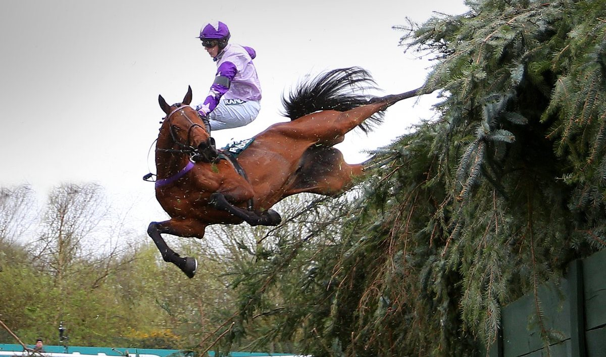 Sam Cavallaro at Beechers Brook in the Foxhunters' at Aintree