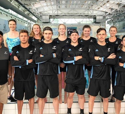 Squad on pool deck...one punter said I'm the odd one out. No. My loyalty is with SPEEDO, always, not that other brand