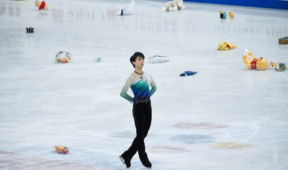 Yuzuru Hanyu of Japan during the men's free skating at the ISU world figure skating championships
