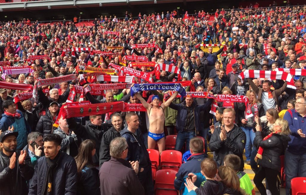 guy @speedomick goes to Everton home and away in speedos to raise money for charity. He appeared in all stands today and was given money by Liverpool fans