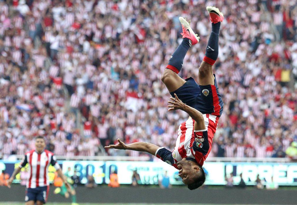 Chivas' José Juan Vázquez celebrates after scoring against Tigres during the final match of the Torneo Clausura at Chivas Stadium