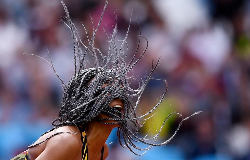 Belgium's Nafissatou Thiam competes in the javelin discipline of the women's heptathlon at the World Athletics Championships