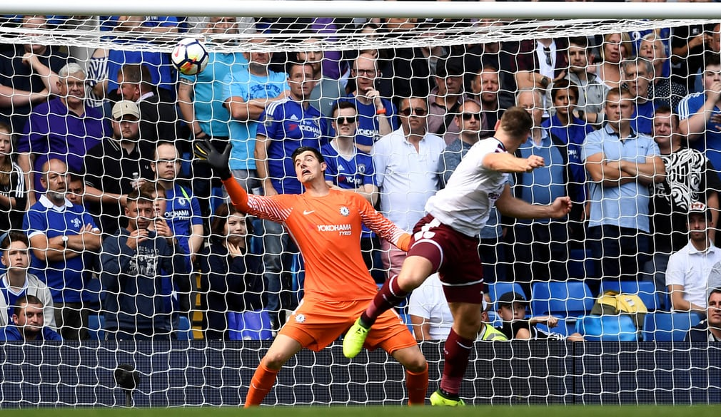 Burnley's Sam Vokes scores their third goal as they beat the champions Chelsea 3-2