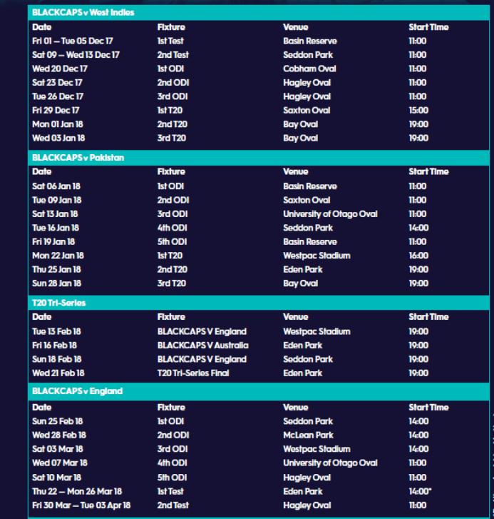 NZ Cricket season