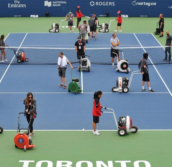 Tennis court clean up