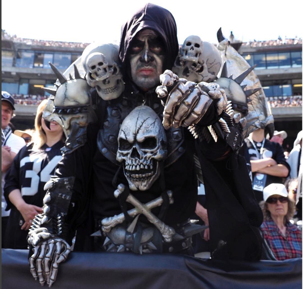 Pity the poor Oakland Raiders fan who had to sit behind this guy during their match against the New York Jets at the Oakland Coliseum