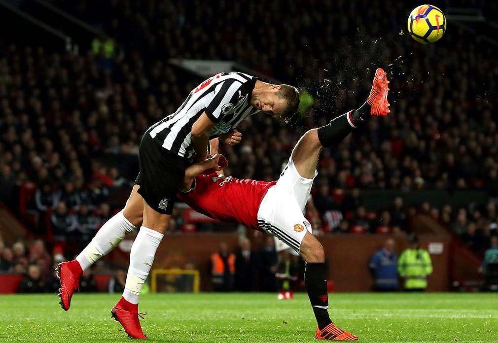 Newcastle United Florian Lejeune and Manchester United Juan Mata battle for the ball what happened next
