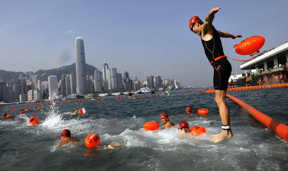 annual 1km harbour race in Hong Kong