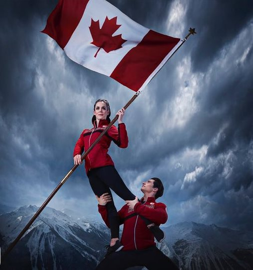 Canada glag bearers figure skaters